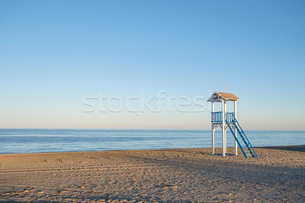 Vida cabaña playa puesta de sol azul blanco Foto stock © lucielang