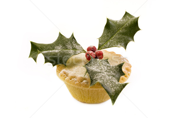 Single mince pie decorated with holly over white. Stock photo © lucielang