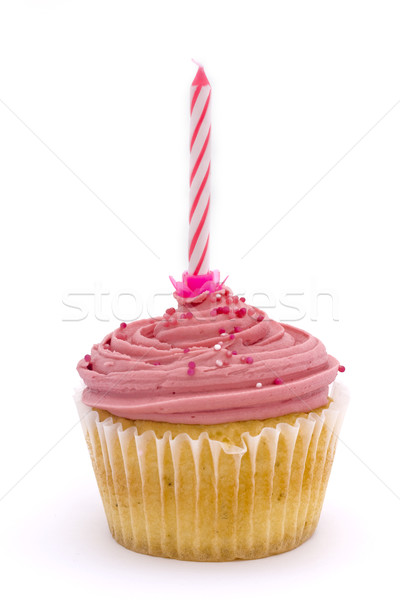 Pink cupcake with candle Stock photo © lucielang