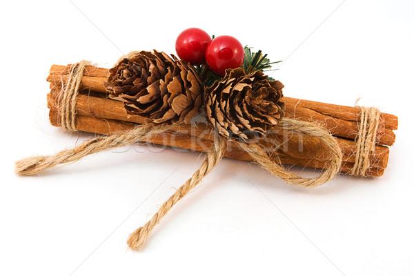 Canela em pau branco natal vara decoração Foto stock © lucielang