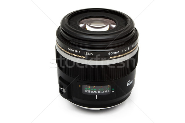 Makró kameralencse fehér film fekete digitális Stock fotó © lucielang