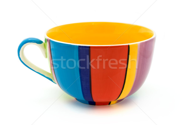 Stripy coffee cup isolated on white Stock photo © lucielang