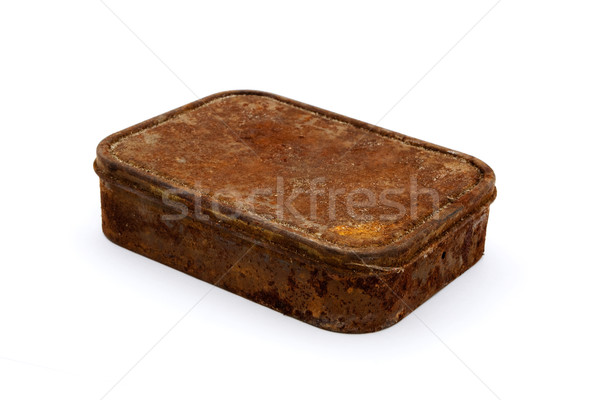Rusty aged rectangular tin over white Stock photo © lucielang