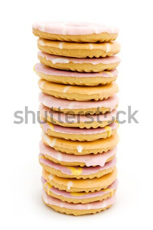 Tower of iced biscuits over white Stock photo © lucielang