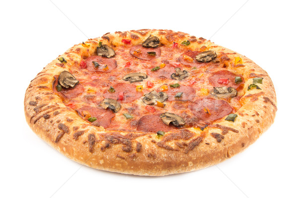 Whole pepperoni pizza on white Stock photo © lucielang
