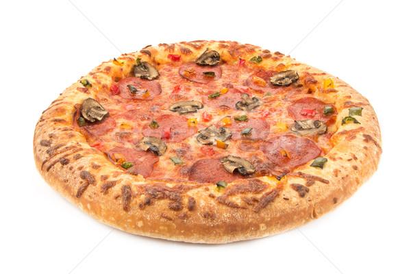 Inteiro calabresa pizza branco comida queijo Foto stock © lucielang