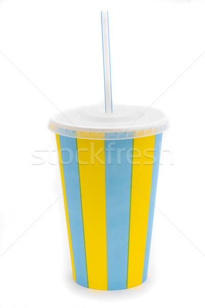 ドリンク カップ 黄色 青 ストックフォト © lucielang