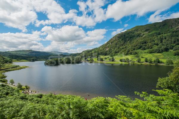 Víz Lake District tájkép fák nyár tó Stock fotó © lucielang