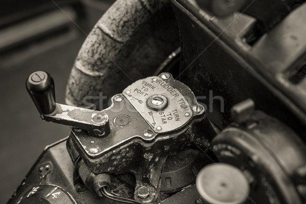 Close up of an old war planes rudder trim controls Stock photo © lucielang