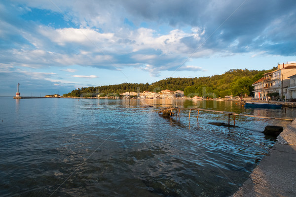 Pôr do sol grego porta belo cidade água Foto stock © lucielang