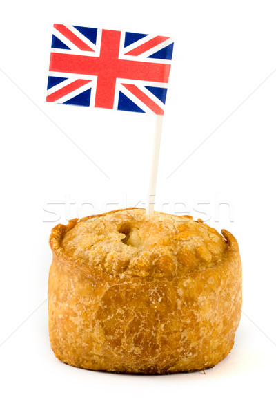 Single pork pie with union jack Stock photo © lucielang