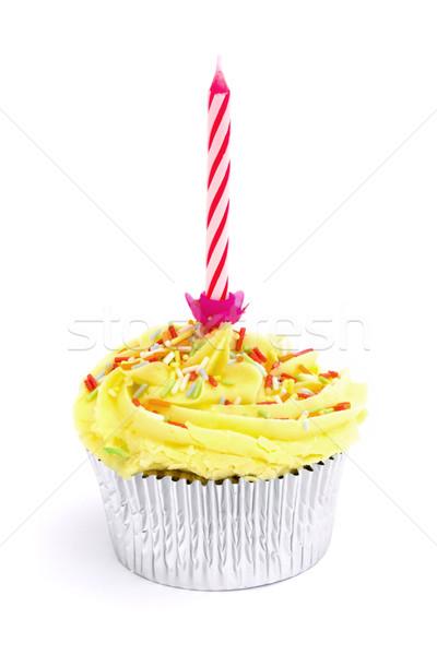 Geel kaars witte voedsel verjaardag Stockfoto © lucielang