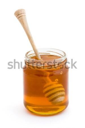 Mel jarra branco vidro café da manhã ferramenta Foto stock © lucielang