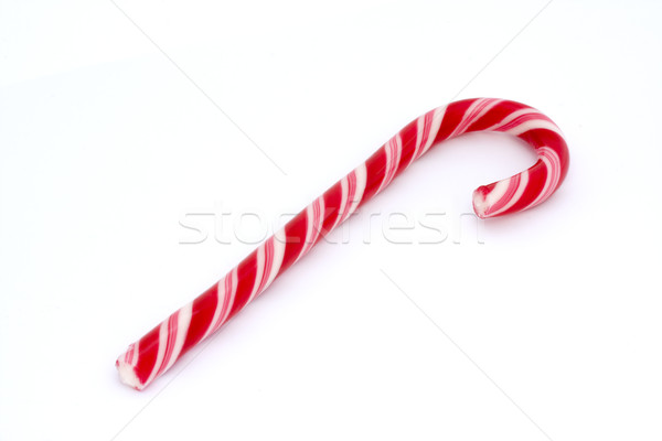 Pink stripy cany cane isolated on white Stock photo © lucielang
