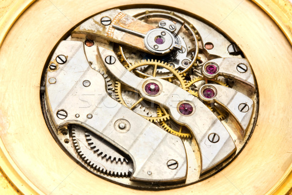 Inside working of a gold watch Stock photo © lucielang