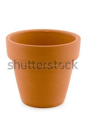 Single terracotta plant pot over white Stock photo © lucielang