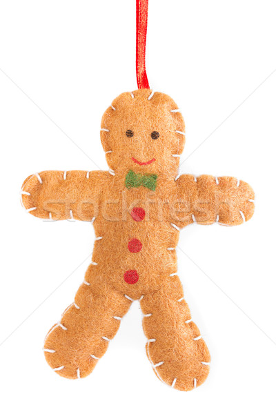 Felt gingerbread man tree decoration Stock photo © lucielang