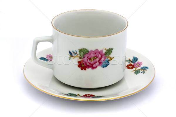Virágmintás teáscsésze csészealj fehér étel kávé Stock fotó © lucielang