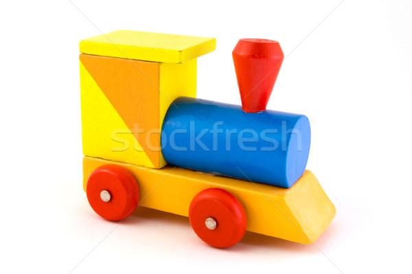 Brinquedo de madeira trem branco educação azul Foto stock © lucielang