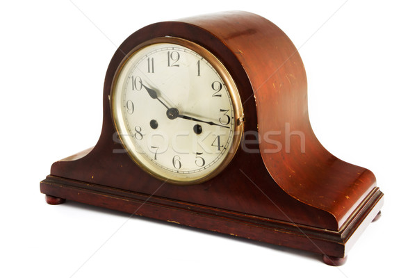 Old antique wooden clock on white Stock photo © lucielang