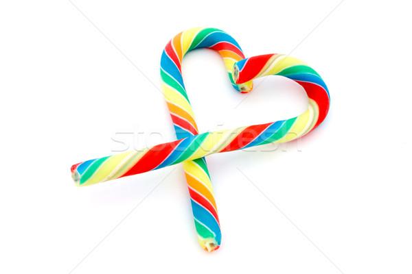 Bonbons canne coeur blanche vert rouge Photo stock © lucielang
