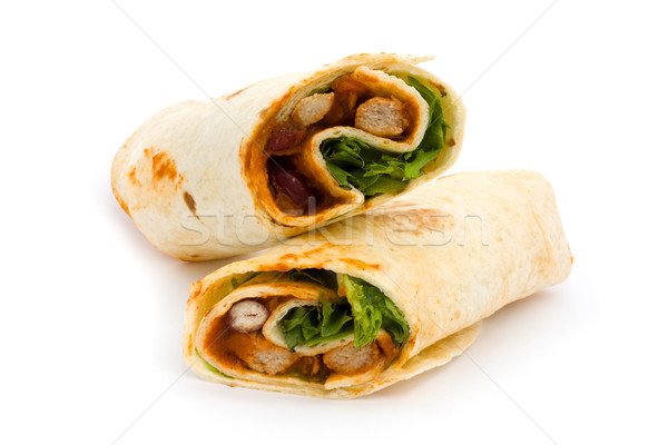 BBQ chicken wrap over white Stock photo © lucielang