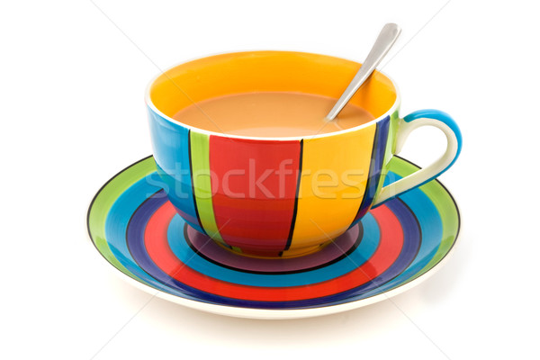 Stripy cup and saucer isolated on white Stock photo © lucielang