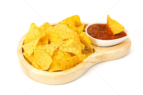 Nachos salsa biały mexican chip naczyń Zdjęcia stock © lucielang