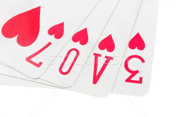 игральных карт правописание слово любви белый костюм Сток-фото © lucielang