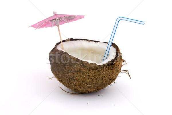 Abrir coco comida madeira beber planta Foto stock © lucielang