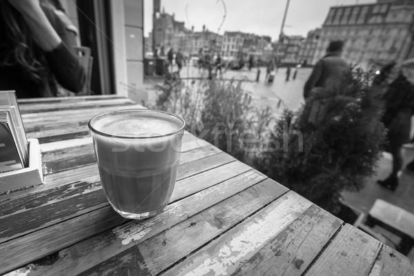 Koffie coffeeshop venster lage tafel koffie winkel Stockfoto © lucielang