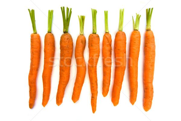 Linha orgânico cenouras verde branco comida Foto stock © lucielang