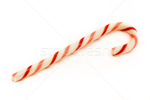 Red striped cany cane over white. Stock photo © lucielang
