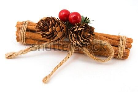 Canela em pau branco vermelho natal vara Foto stock © lucielang