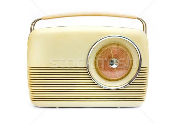 Retro krem radio biały muzyki tle Zdjęcia stock © lucielang