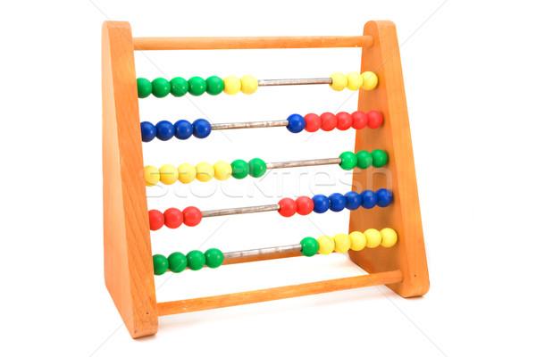 Houten abacus witte frame spelen studio Stockfoto © lucielang