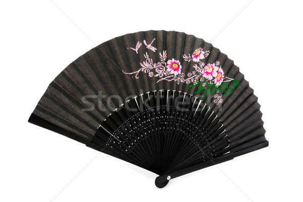 Black chinese hand fan over white Stock photo © lucielang