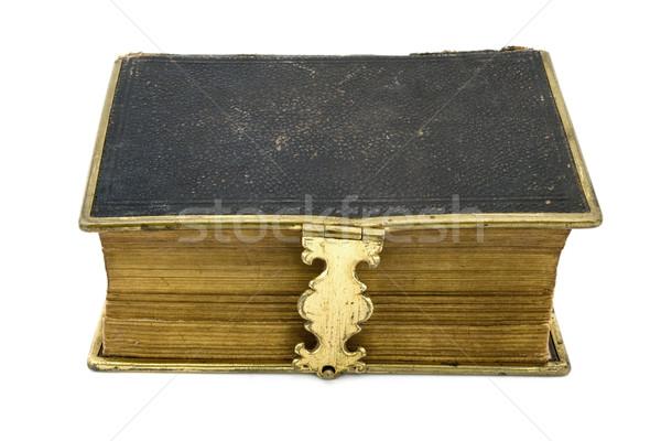 Antieke leder boek witte textuur metaal Stockfoto © lucielang