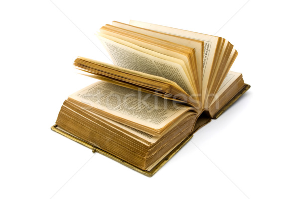 Open antique leather book over white Stock photo © lucielang