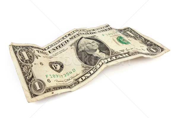 Old dollar bill over white Stock photo © lucielang