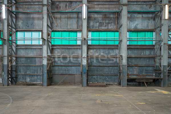 Corrugated iron wall in a warehouse Stock photo © lucielang