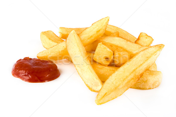 Patatine fritte ketchup bianco alimentare rosso Foto d'archivio © lucielang