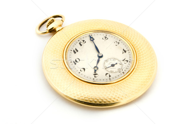 Gold pocket watch over white Stock photo © lucielang
