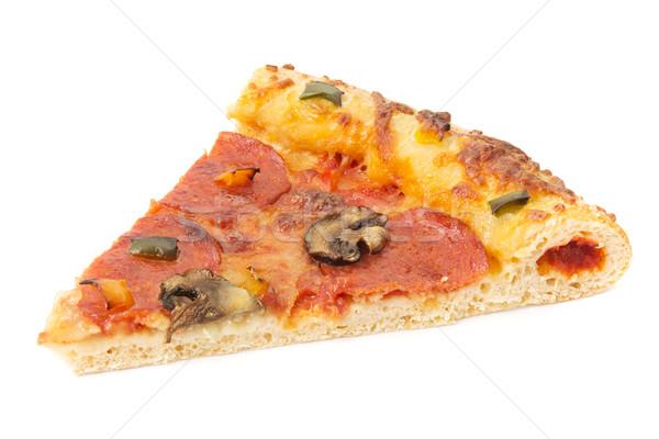 スライス ペパロニ ピザ 白 食品 チーズ ストックフォト © lucielang