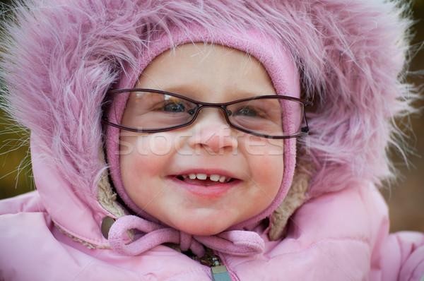 Komik bebek gözlük kız mutlu Stok fotoğraf © luckyraccoon