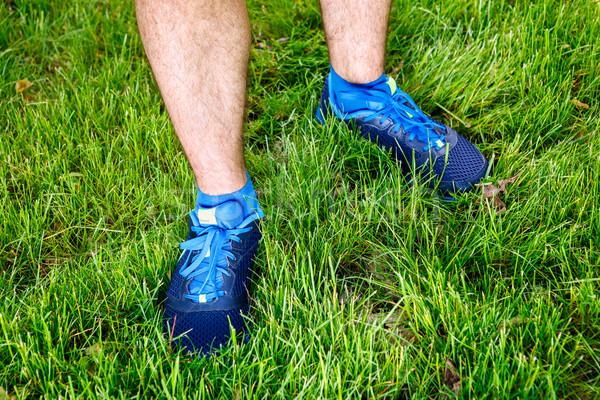 Primer plano masculina corredor pie espacio texto Foto stock © luckyraccoon