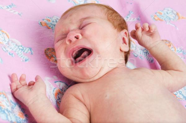 Weinen neu geboren Baby Mädchen Augen Junge Stock foto © luckyraccoon
