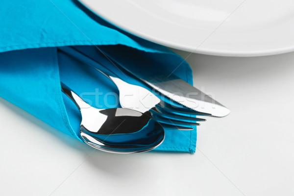 ナイフ フォーク スプーン 孤立した 白 金属 ストックフォト © luckyraccoon