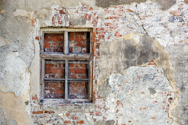 Closed blocked window and old stone wall background Stock photo © luckyraccoon