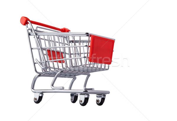 Alışveriş sepeti yalıtılmış beyaz arka plan kırmızı pazar Stok fotoğraf © luckyraccoon